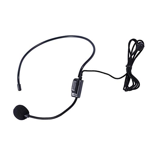 Micrófono Profesional con micrófono para Auriculares con Cable de Primera Voz para Altavoz Amplificador de Voz con Conector de 3,5 mm - Negro