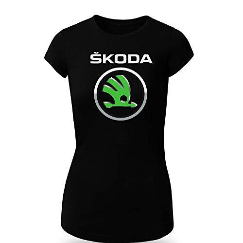 Skoda 1 T-Shirt Clipart Women CAR Logo Auto Tee TOP Black White Short Sleeves (M, Black)