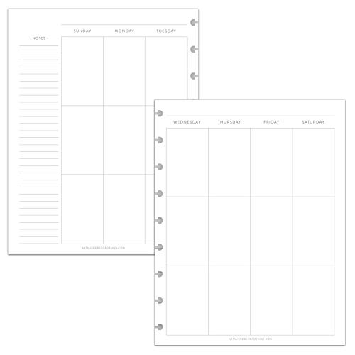 BetterNote Vertical Undated Calendar Inserts for Happy Planner, Fits 9-Disc Notebooks, Sunday Start, Classic (Notebook Not Included)
