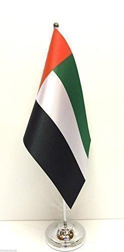 UAE Flagge: Vereinigte Arabische Emirate, mit Chrom-Fußkreuz, Tisch-Fahnen-Set