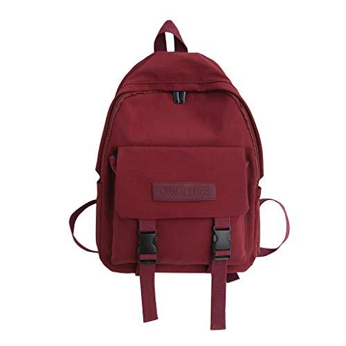 KaloryWee Volltonfarbe Rucksack Student Computer Tasche Student Bag Weibliche frische literarische Umhängetasche Canvas Reisetasche