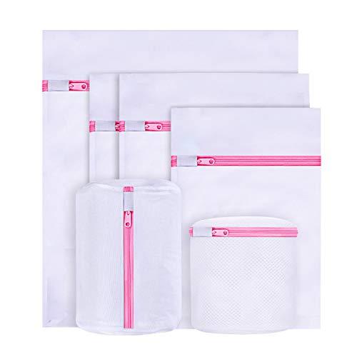 BoxLegend Mesh Sacs à Linge en Filet Sacs de Lavage en Filet réutilisables avec Fermeture à glissière pour délicats, sous-vêtements, Chaussettes, Soutiens-Gorge (5 Tailles) (6-Pack, Pink Zipper)