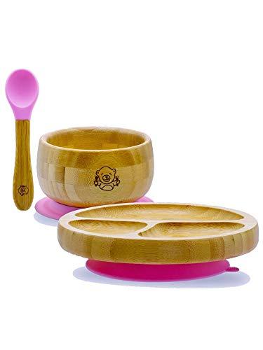 Bubba Bear ® Juego de ventosas, platos y cucharas para bebés pequeños | Guía gratuita de Bubba Bear para el destete eBook | Stay Put Bowl y plato de alimentación | Hecho con bambú natural