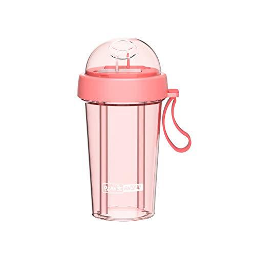 MSNLY Taza de Sippy Fresca y Encantadora una Taza de Bebida Dual de Doble Uso Red roja Personalidad Creativa Tendencia niña corazón Estudiante separada Copa de Agua de Paja para Adultos ins