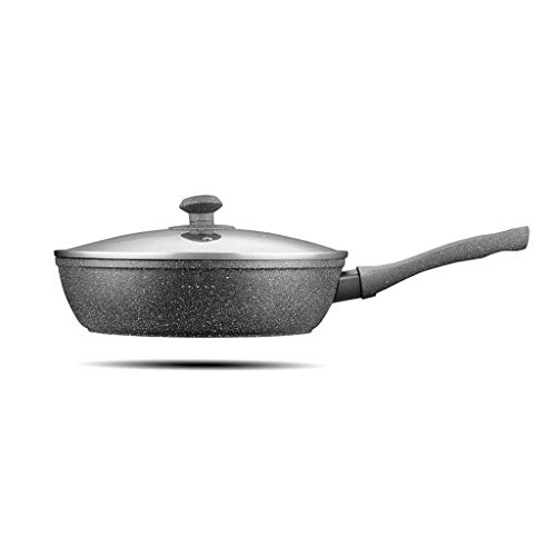 HNSXR Wok sin humo antiadherente de fondo plano cocina de inducción cocina de gas especial hogar olla freír doble uso antiadherente