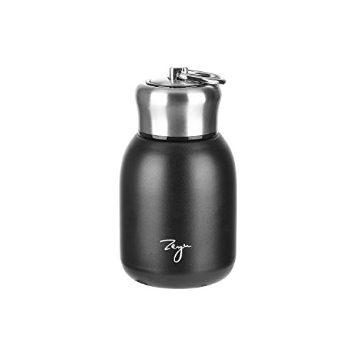 Mini Thermal Mug, 10oz/300ML Mini Thermos Mug Leak Proof Vacuum Flasks Travel Thermos Cup Portable Stainless Steel Drink Water Bottle for Indoor and Outdoor (Black)