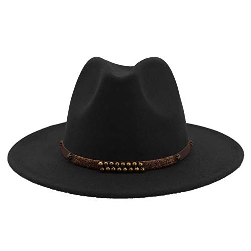 Lana De Fieltro De ala Ancha De Jazz del Sombrero De ala De Los Hombres Clásicos del Partido Cap Panamá Formal Floppy Sombrero Negro