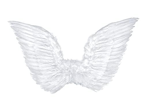PartyDeco Engel Flügel Weiß Verkleidung Halloween Kostüm für Frauen Mädchen Halloween Dekoration Weihnachten Karneval Kommunion Zubehör Cosplay Flügel mit Federn Requisiten