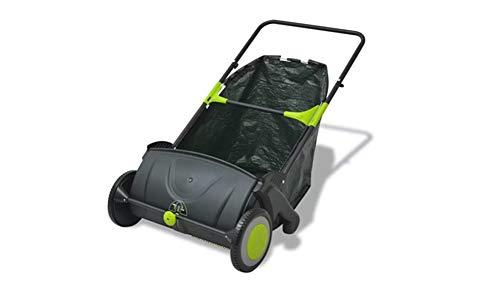 Zerone- Manuelle Kehrmaschine,Rasenkehrmaschine im Freien Manuelle Schubkehrmaschine Einstellbares Gartenkehrwerkzeug mit Auffangbeutel 103 L für Gartenrasenhof