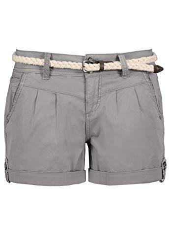 Eight2Nine Damen Chino Shorts Hose mit Flecht-Gürtel Middle-Grey M