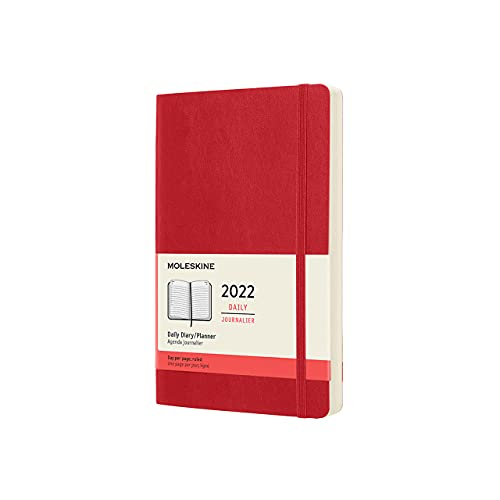 Moleskine Classic 12 Month 2022 Daily Planner, Soft Cover, Large (5 x 8.25), Scarlet Red