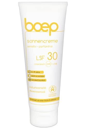 boep Sonnencreme Sensitiv Parfümfrei LSF30 - Für Babys, Kinder & Erwachsene mit sensibler Haut - Mineralische, riff-freundliche Naturkosmetik Sonnencreme (100 ml)