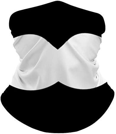 Unisex Seamless Face Mask Bandanas Neck Gaiter Tube Headwear Bandana White black simple funny product image