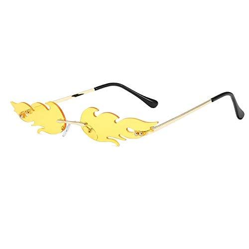 weichuang Lentes de sol de llama para hombres y mujeres con montura metálica sin montura de cristal de borde estrecho europeo y americano (lentes de color: amarillo)
