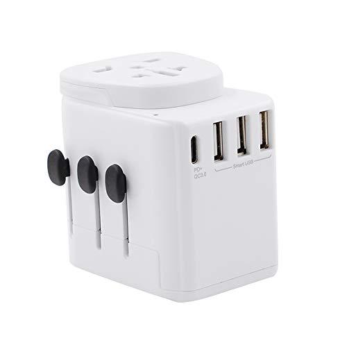 Adaptador de corriente universal de viaje Todo en uno Adaptador de enchufe de CA internacional con cargador de pared internacional con 5.6A Smart Power USB y 3.0A USB Type-C para USA UE UK AUS