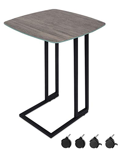 Moncot Mobile C Shaped End Table with Wheels, Weatherproof, Wood Finish Glass top Side Table, Coffee Table, Nightstand, Lamp Table, for Living Room, Bed Room, Patio and Balcony, ET220A-WD