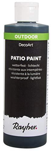 Rayher 38611576  Patio Paint, schwarz, Flasche 236 ml, wetterfeste Acrylfarbe für den Außenbereich, lichtecht, Farbe für innen und außen, Outdoor-Farbe