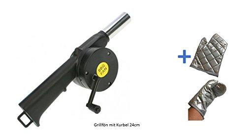 Grill BBQ Grill-Ventilator-Luft-Gebläse für Outdoor Picknick Camping Kochen neu mit Kurbel + Grillhandschuh