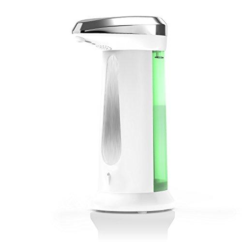 Arendo Savoni2 Automatik - Seifenspender / Seifendosierer   Neues Modell 2016 / optimierte Pumpe   Flüssigseifenspender mit integriertem Infrarot - Sensor   400ml Fassungsvermögen   weiß / chrom