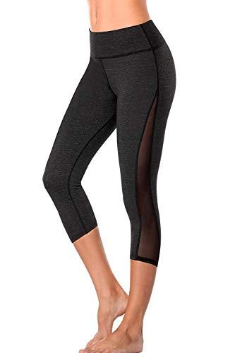 Anwell Jogginghose Kurze Beine Damen Capri Leggings 3/4 Bauchweg Yoga Hose mesh Kurze Hose High Waist Sommer Dunkelgrau L