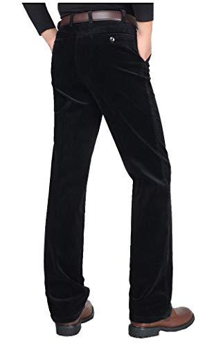 CYSTYLE Herren Corduroy Cordhose Straight Leg (Schwarz, L)
