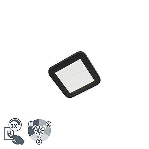 QAZQA Modern Plafondlamp zwart IP44 3-staps dimbaar incl. LED - Steve Kunststof Vierkant Geschikt voor LED Max. 1 x Watt