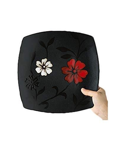 XY&CF Pintado a Mano Negro Rojo de la Flor de cerámica de vajilla, Cocina de vajilla, Platos, Cuencos, Tazas de microondas y lavavajillas (Color : E)