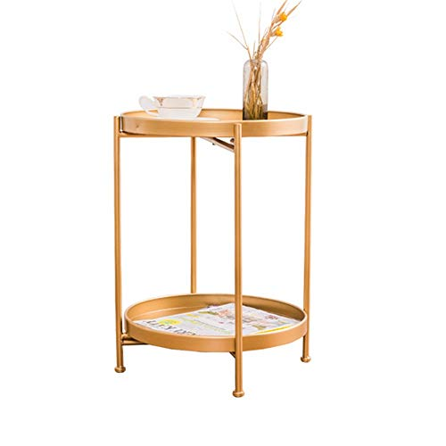 Axdwfd Tafels Creative Metal Round Table bank in de woonkamer Side Table Bedroom Nachtkastje Shelf -40cmX40cmX51.5cm (Color : Gold)