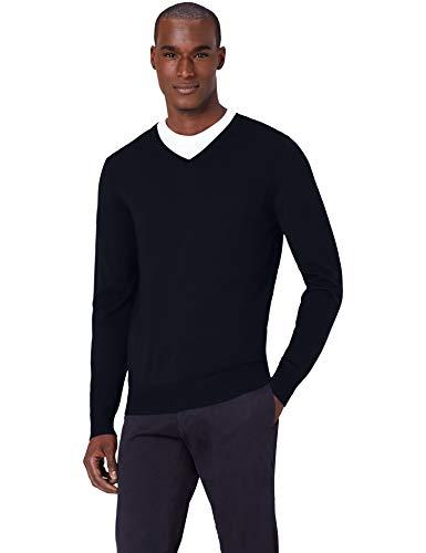 Amazon-Marke: MERAKI Merino Pullover Herren mit V-Ausschnitt, Blau (Navy), L, Label: L