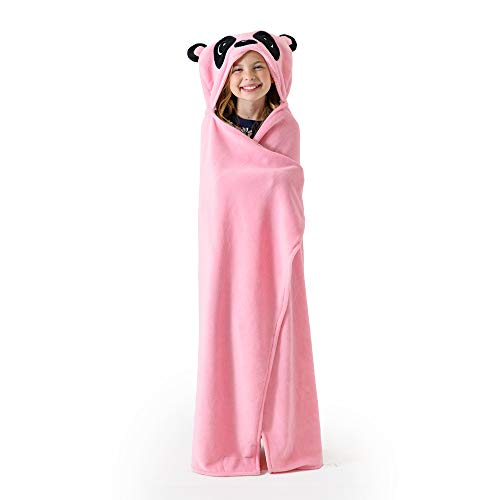 """Canoogles Pink Panda Wearable Hooded Blanket for Kids   Soft Fleece w/Corner Hand Pockets   Machine Washable   40"""" H x 50"""" W, Ages 3-12, One Size"""
