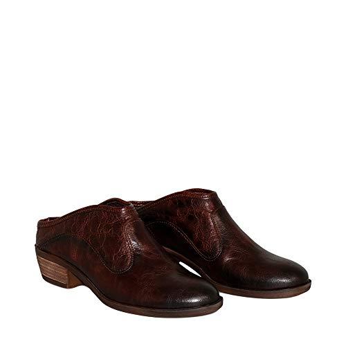 Felmini - Zapatos para Mujer - Enamorarse com Gin B002 - Zuecos con Tacones - Cuero Genuino - Marrón - 38 EU Size