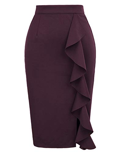 Women's Ruffle Bodycon Knee Length Midi Pencil Skirt M Purple