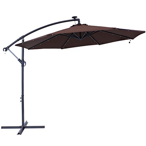 Sunnydaze 10-Foot Offset Cantilever Solar Patio Umbrella with Outdoor LED Lights Crank, and Cross Base - Brown Polyester Canopy and Gray Powder-Coated Steel Pole and Ribs