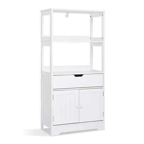 Meerveil Badezimmerschrank, Badschrankmit Einlegeböden Schubladen und Türen, Aufbewahrungsschrank für Badezimmer Küche Wohnzimmer 60 x 30 x 121cm (L x B x H), Weiß