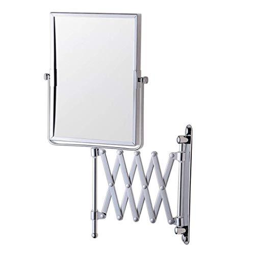 BXU-BG Espejo de maquillaje de pared plegable de 15 x 20 cm, espejo de baño de cobre, se puede girar 3 aumentos (color: plata, tamaño: 15 x 20 cm)