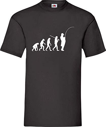 Shirtinstyle T-Shirt Evolution Angler Angeln Fischen Spezial Edition, Farbe schwarz, Größe XXXL