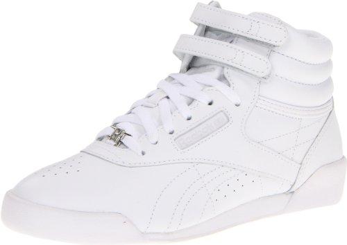 Reebok Girl's Freestyle HI-K, White/White, 7 M US Big Kid