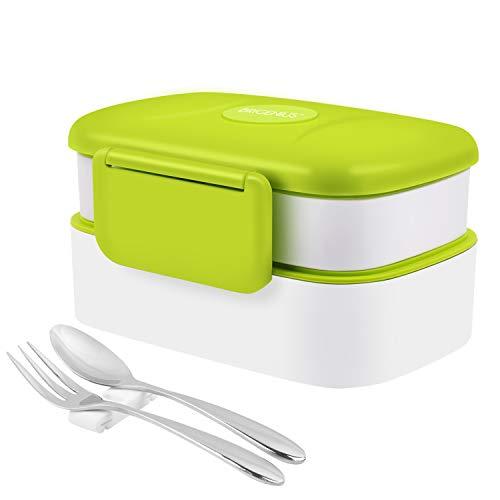 Bento Box 2-Schichten Brotdose für Kinder Junge Mädchen Erwachsene Auslaufsicher Lunchbox BPA Frei/FDA Zertifizierung Brotzeitbox Lunchboxen für Büro Kindergarten Schule