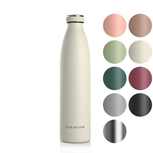 LARS NYSØM Edelstahl 1 Liter Trinkflasche | BPA-freie Isolierflasche 1000ml | Auslaufsichere Wasserflasche für Sport, Fahrrad, Hund, Baby, Kinder (Buttercream)
