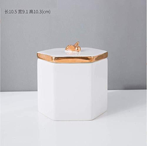 Sinzong Versieringen Witte keramische opbergpot met deksel sieraden doos decoratie opbergdoos decoratie enkel stuk