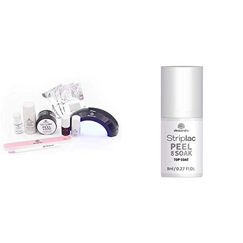 alessandro Striplac Peel or Soak Starter Kit – Perfekte Nägel in 15 Minuten – Farbe: Velvet Red & Striplac Peel or Soak Top Coat – LED-Überlack für eine perfekt glänzende Farblackierung – 1 x 8ml
