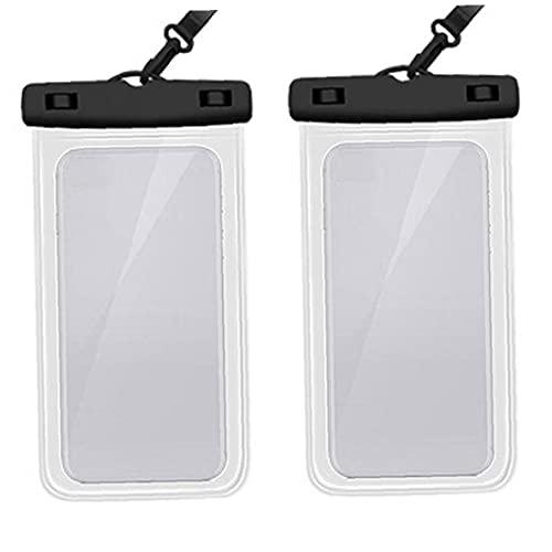 Hainice 2pcs Funda de teléfono a Prueba de Agua PVC portátil Transparente Transparente Teléfono móvil Bolsa Seca para iPhone Samsung Huawei