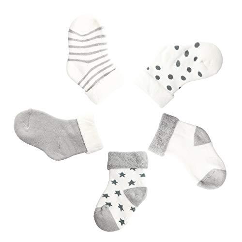 Camilife 5 Paar Baby Jungen Mädchen Winter Socken Set Verdickte mit Frottee Baumwolle Babysocken Super Warm Weich - Hellgrau 1-3 Jahre alt