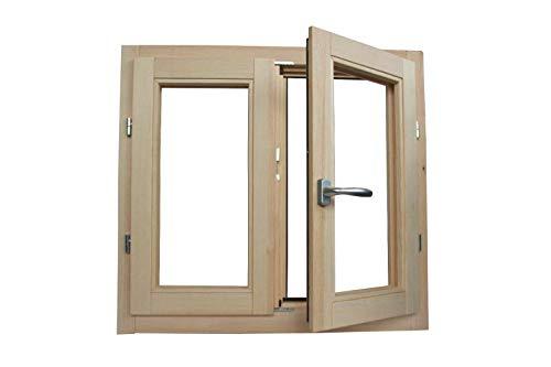 Fenster in rauen Holzfenstern cm L 100 x 100 H – Doppelglas – Griff – gebeizt – zu behandeln: Imprägnierung / Lackierung – in jeder Farbe