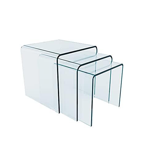Set da 3 Tavolini Tavolo Basso da Ufficio Salotto e Cucina Tris Cubo da caffè in Vetro Temperato Curvato, Tris Tavolino Luxury Z-31, Design Curvo e Moderno,Trasparente