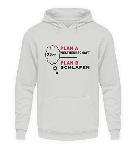 ROCK-WITCHES Plan A - El dominio Mundial. Plan B - Dormir. Sudadera con Capucha Unisex con Texto en alemán Total lustiger Shirtspruch als Geschenk Sport Grau XL
