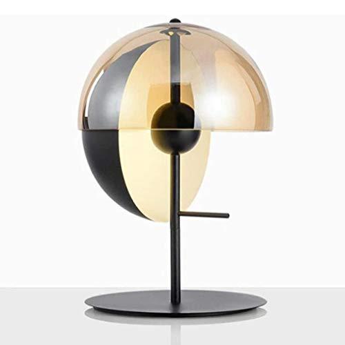 ZLMAY Linterna de Hierro de Cristal lámpara de Escritorio de Oficina en casa, lámpara de Mesa Simple Negro Moderno con Sombra Vidrio Transparente, for de Noche Mesilla de Noche