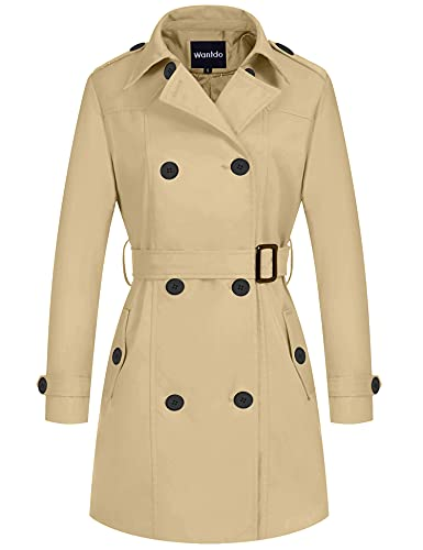 Wantdo Women's Casual Pea Coats Winter Long Trench Coat with Belt Khaki Medium