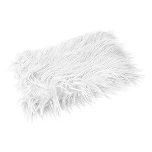 Photography Fur Mat for Baby Photo Shoots - Newborn Photography Props and Home Decoration Made of White Faux Fur - Photographic White Fur Mat for Baby Girls and Boys