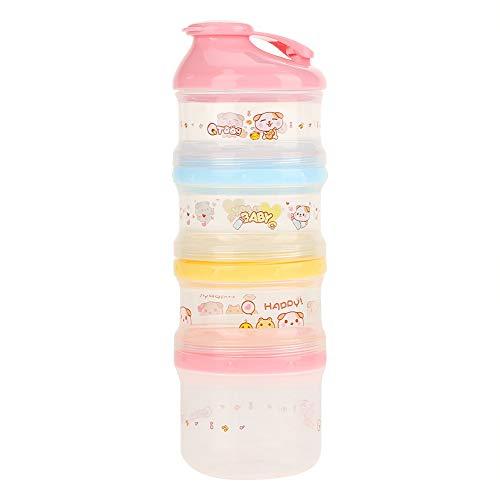 Baby Formula Dispenser Milch Pulver Spender Tragbare Milchkasten 4 Schicht Stackable Milk Powder Formula Container für Reisen Camping und Outdoor Aktivitäten(Rosa)